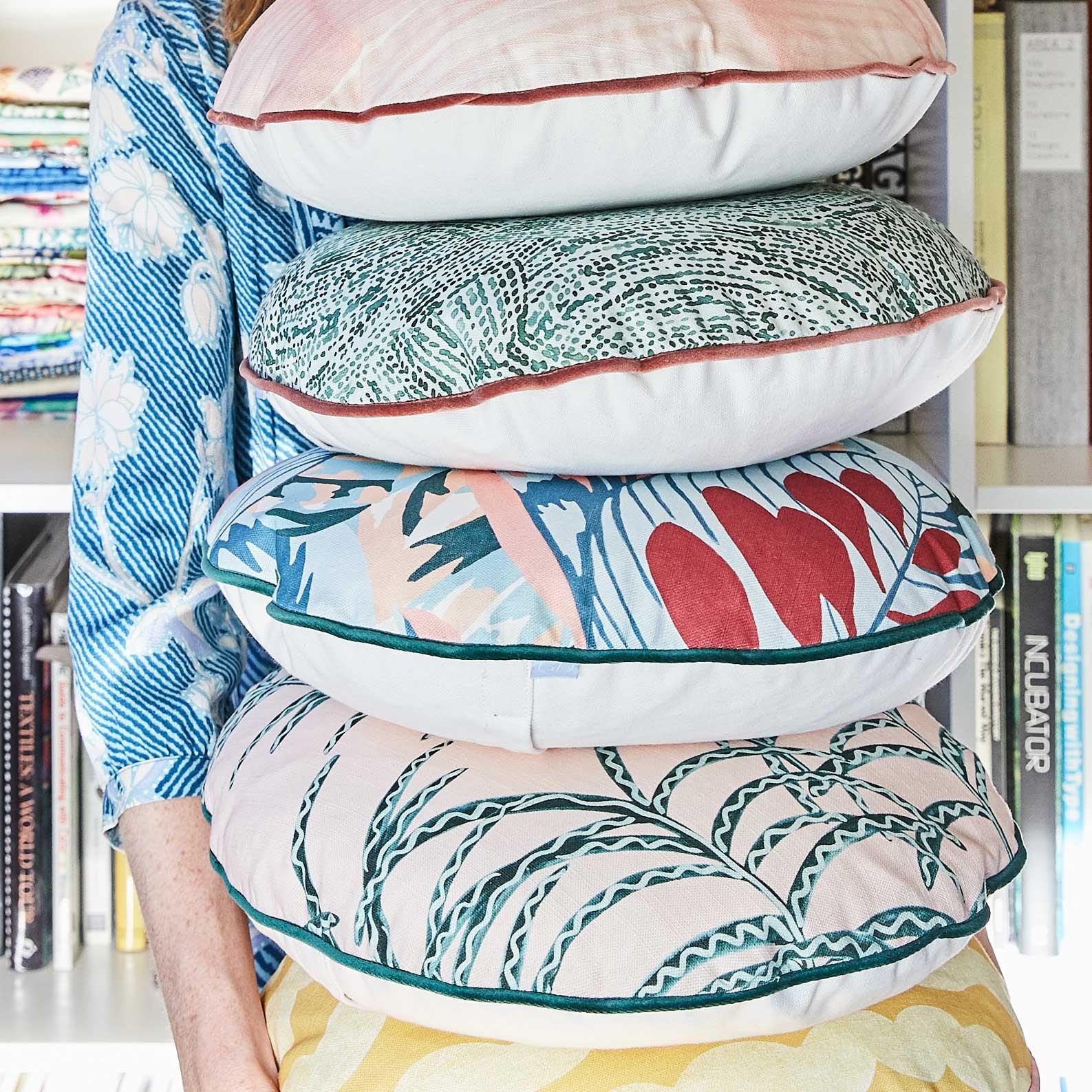 Camo Blue Round Cushion