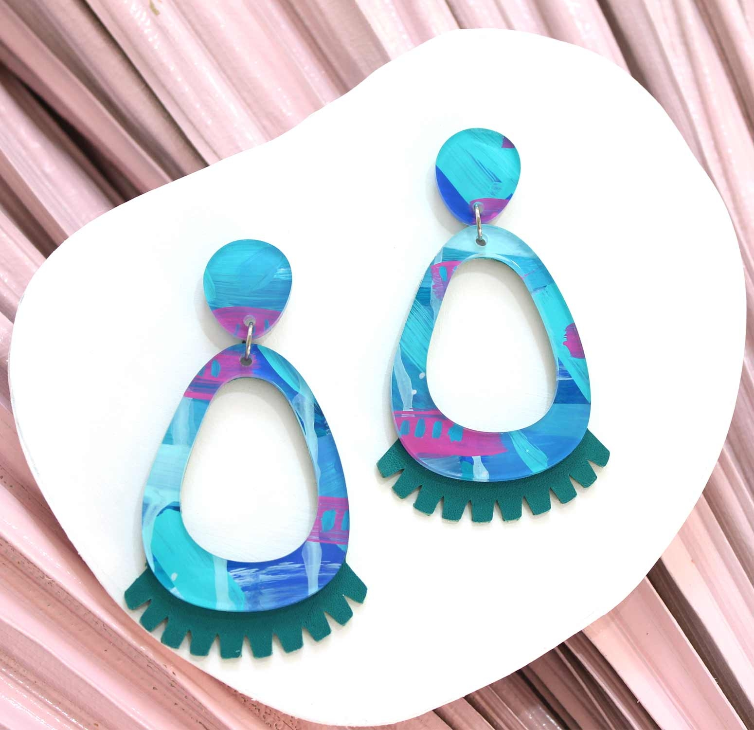Edna - Ice Queen – Teal Leather Statement Earrings, hand painted