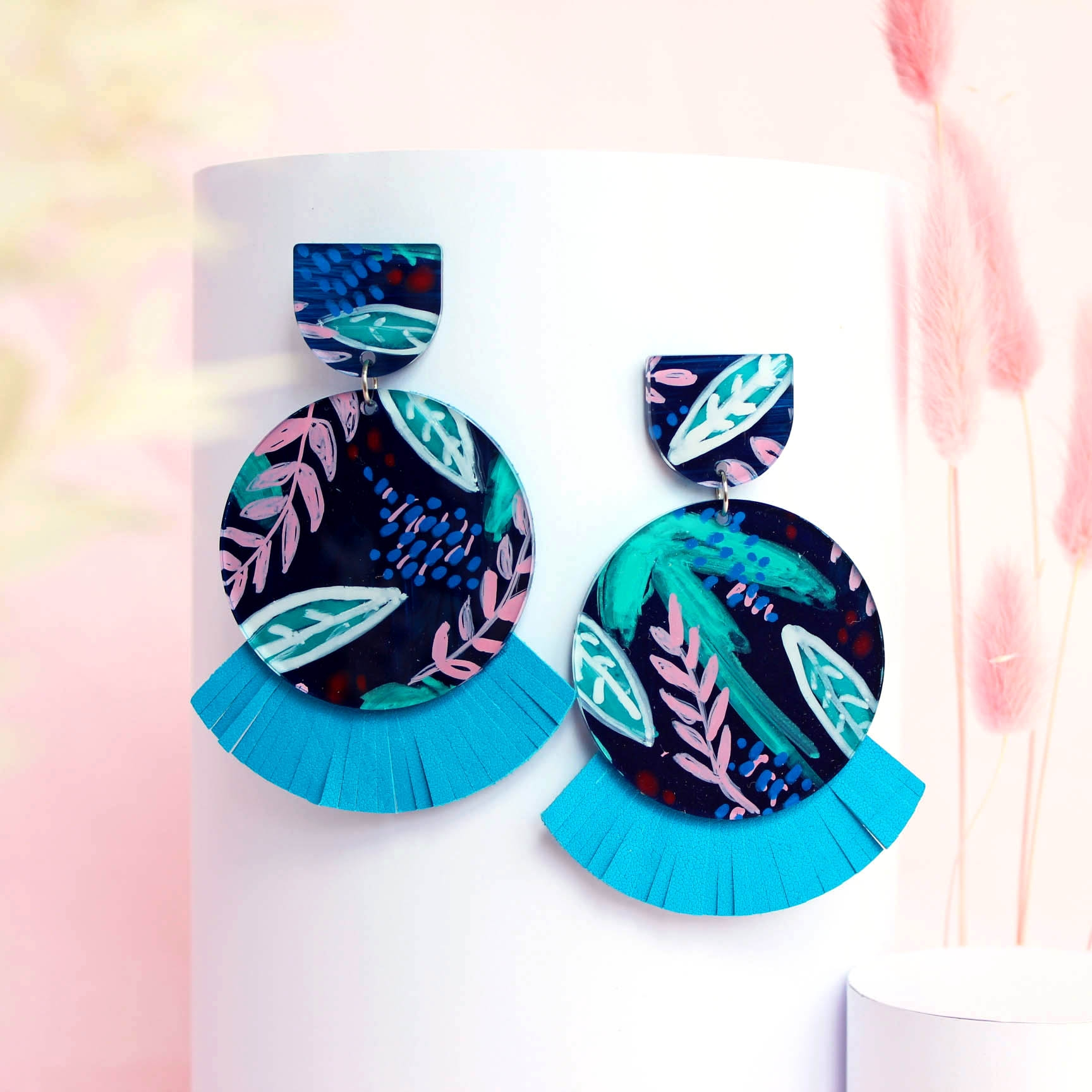 Lunar (Large Size) - Botanica – Bright Blue Leather Statement Earrings, hand painted