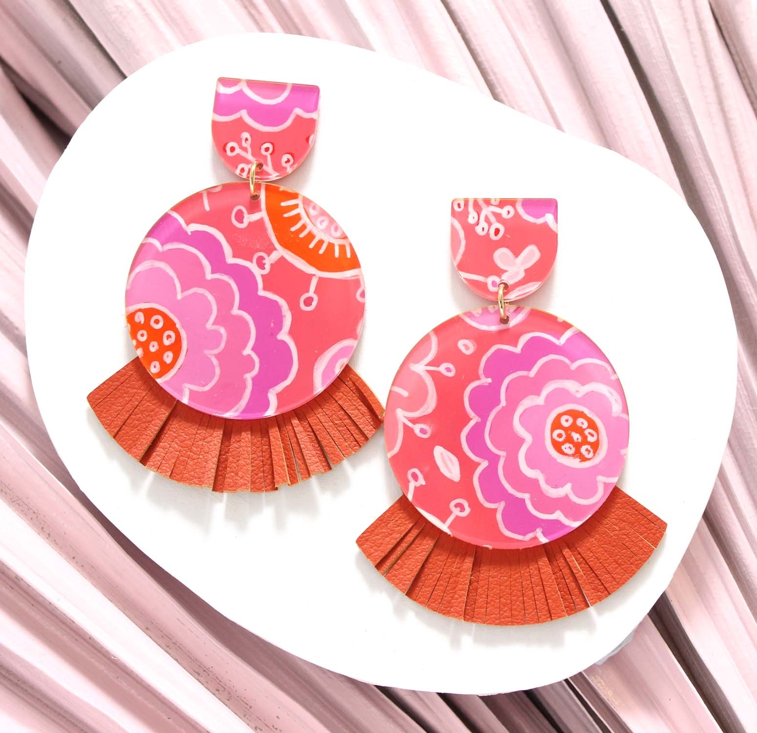 Lunar (Large Size) - Floral Pop – Orange Leather Statement Earrings, hand painted