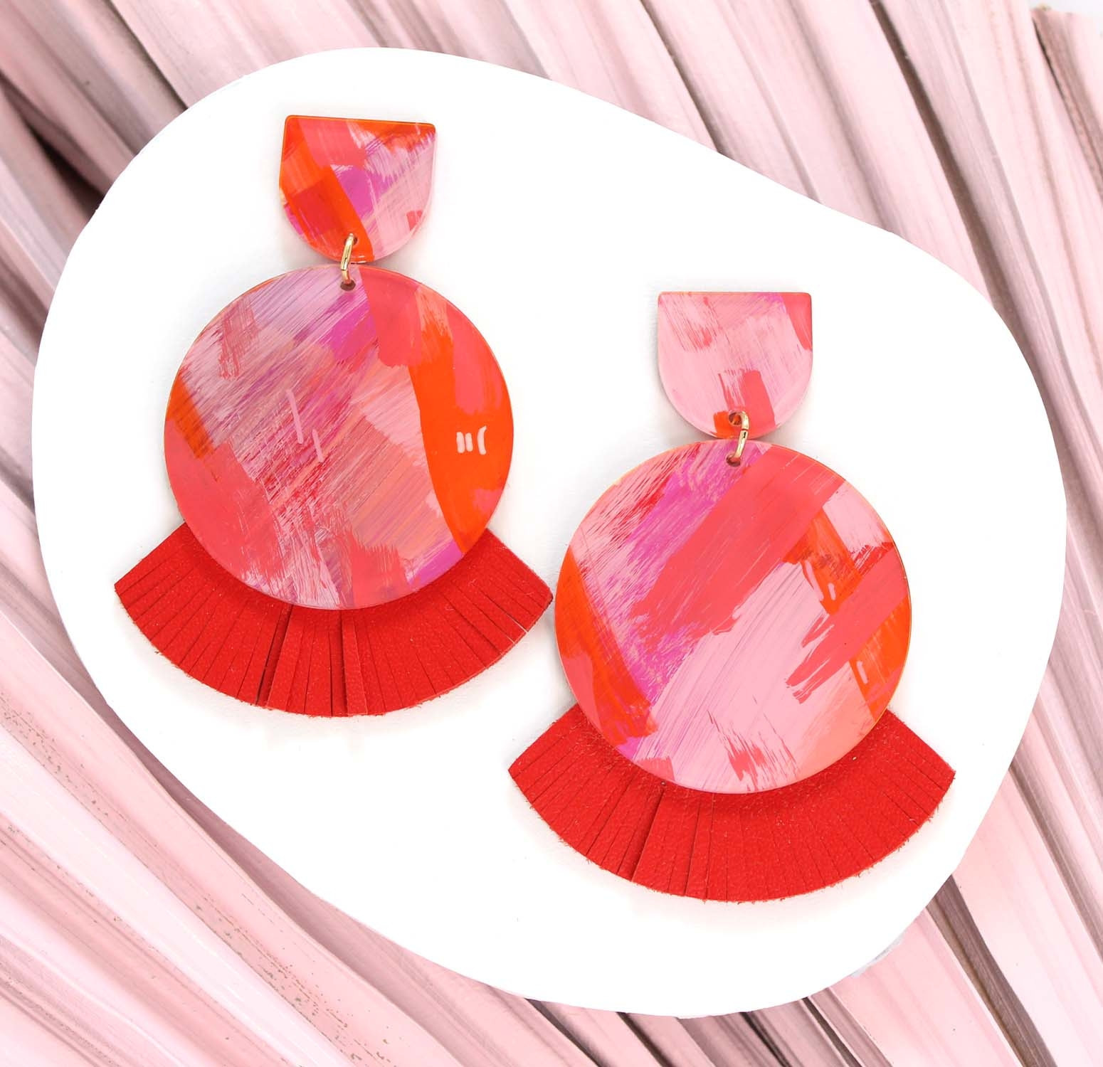 Lunar (Large Size) - Summer – Red Leather Statement Earrings, hand painted
