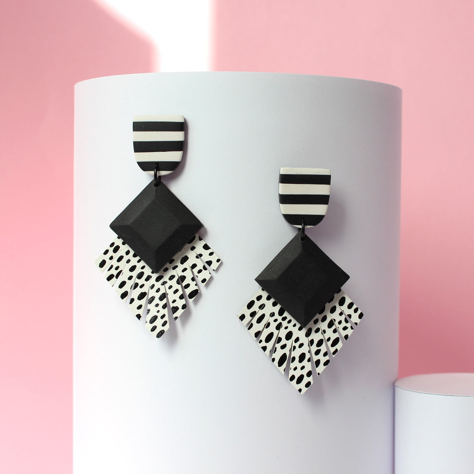 Luxe Deco - Derby Leopard Statement Earrings, hand painted leather