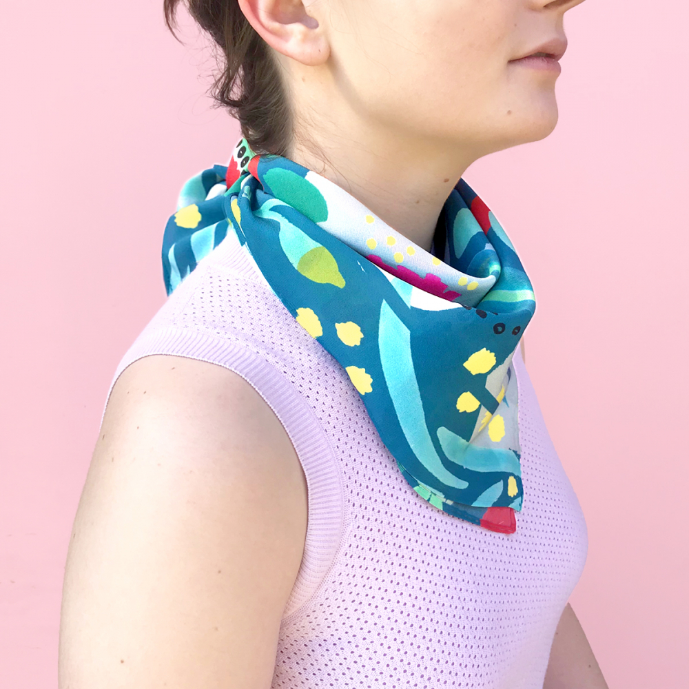 ABSTRACT OZ TEAL - SMALL SCARF